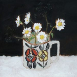 Coffee Cup Flowers by Stephanie Axtell 20x20cm