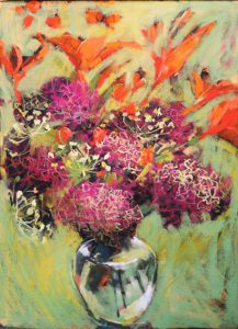 Orange Lilies and Hydrangeas by Lynn Golden
