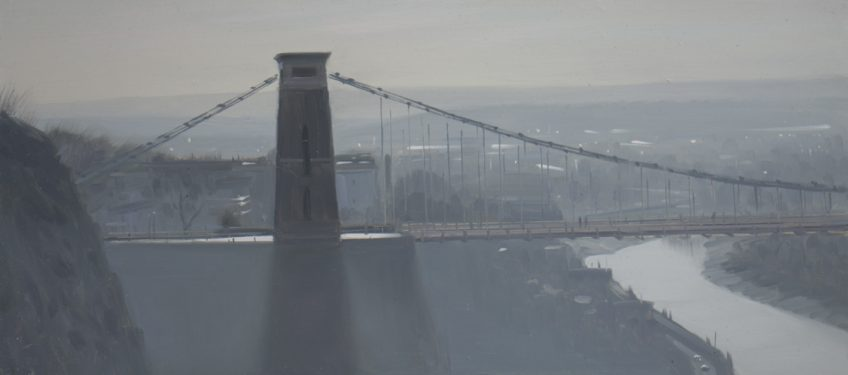 Clifton Suspension Bridge, contre jour in mist, January
