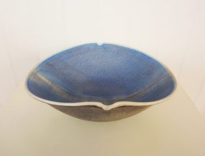 Blue stoneware bowl by Christine Feiler