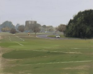 Jogger and car on the Downs, Misty Day, November