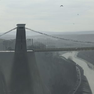 Clifton-Suspension-Bridge-in-mist-with-birds