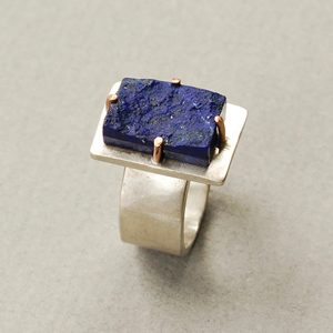 Lapis, silver, rose gold Size M