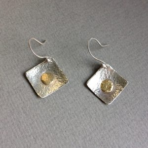 Silver 18ct gold 15x15mm