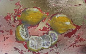 lemons with gold and bronze leaf