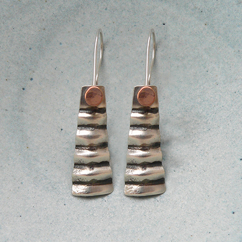Oxidised Silver & 9ct Gold Earrings