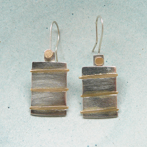 Silver with 9ct Gold Earrings