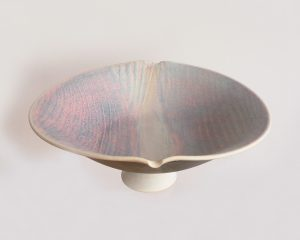 footed pink dish