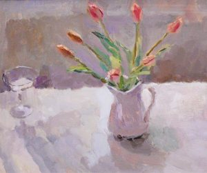 Tulips and a glass