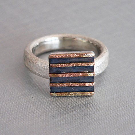 Oxidised Silver & Rose Gold Ring