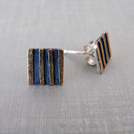 Oxidised Silver, 9ct Rose Gold Studs