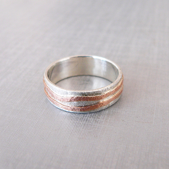 Silver & 9ct Rose Gold Ring